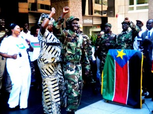 A flag-raising ceremony at the new Embassy of South Sudan. Uploaded to flickr by
