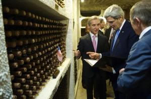 U.S. Secretary of State John Kerry visiting Cricova collection of wines. (Wikimedia)