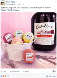 One of the Facebook posts promoting fake Carlo Rossi products.