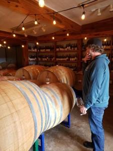 Todd Bostock in the Dos Cabezas barrel room.