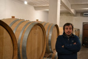 Raphaël Bérêche with his oak casks