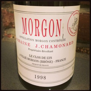 1998 Domaine J. Chamonard Morgon Le Clos de Lys. Beautifully aged Beaujolais.