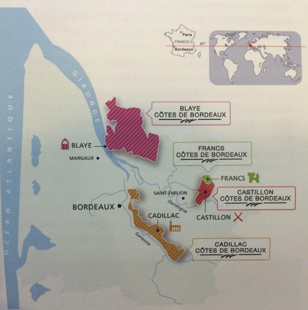 Cotes de Bordeaux map